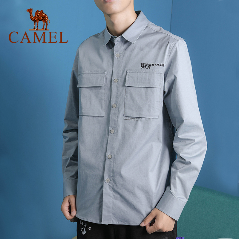 CAMEL New Arrivals Fashion Men's Long Sleeve Tops Casual Cotton Outdoor Male Collar Shirt
