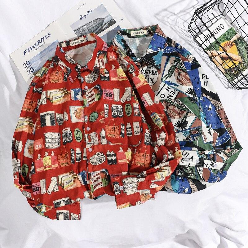 OSCN7 Casual Printed Long Sleeve Shirt Men High High Streetwear 2019 Fall Women Shirt Retro Shirts Harujuku Mens Shirt 432