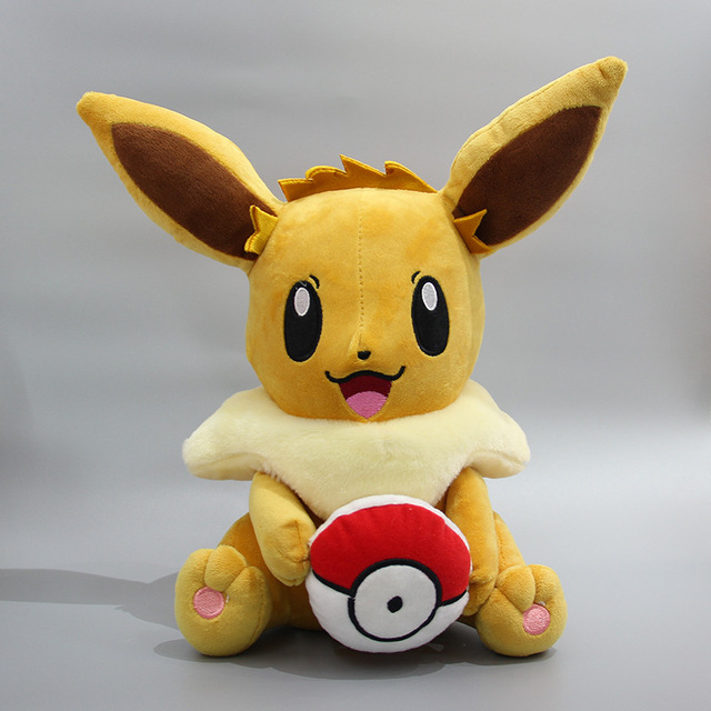 20cm Anime Animal Eevee with Poke Ball Pikachu XY Figure Toy Plush Stuffed Collectible Toy Christmas Gift TV & Movie Character