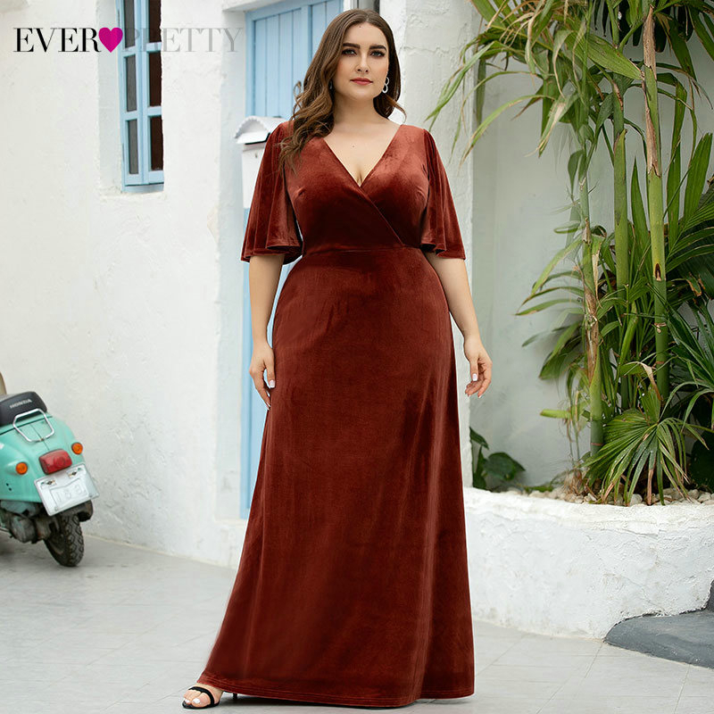 Plus Size Velour Prom Dresses Ever Pretty A-Line Half Sleeve Deep V-Neck Ruched Elegant Burgundy Party Gowns Vestidos De Gala