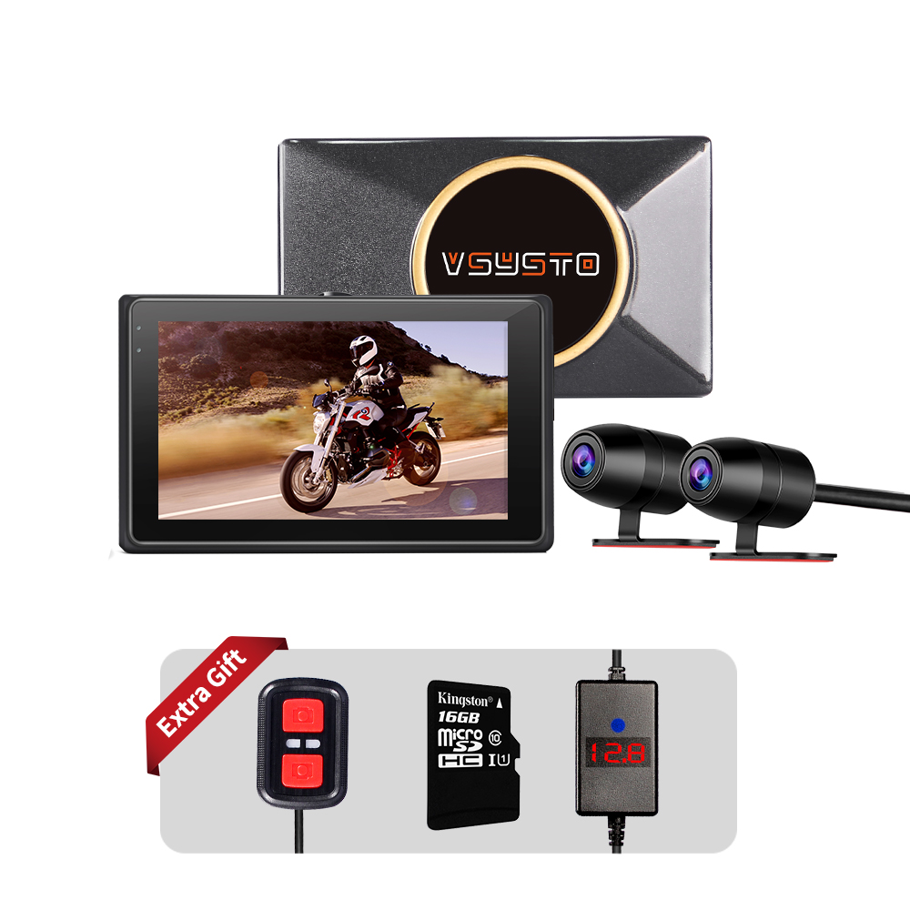 Wifi moto rcycle dash cam 1080P moto dvr 140 ° moto rbike double vue caméra 3