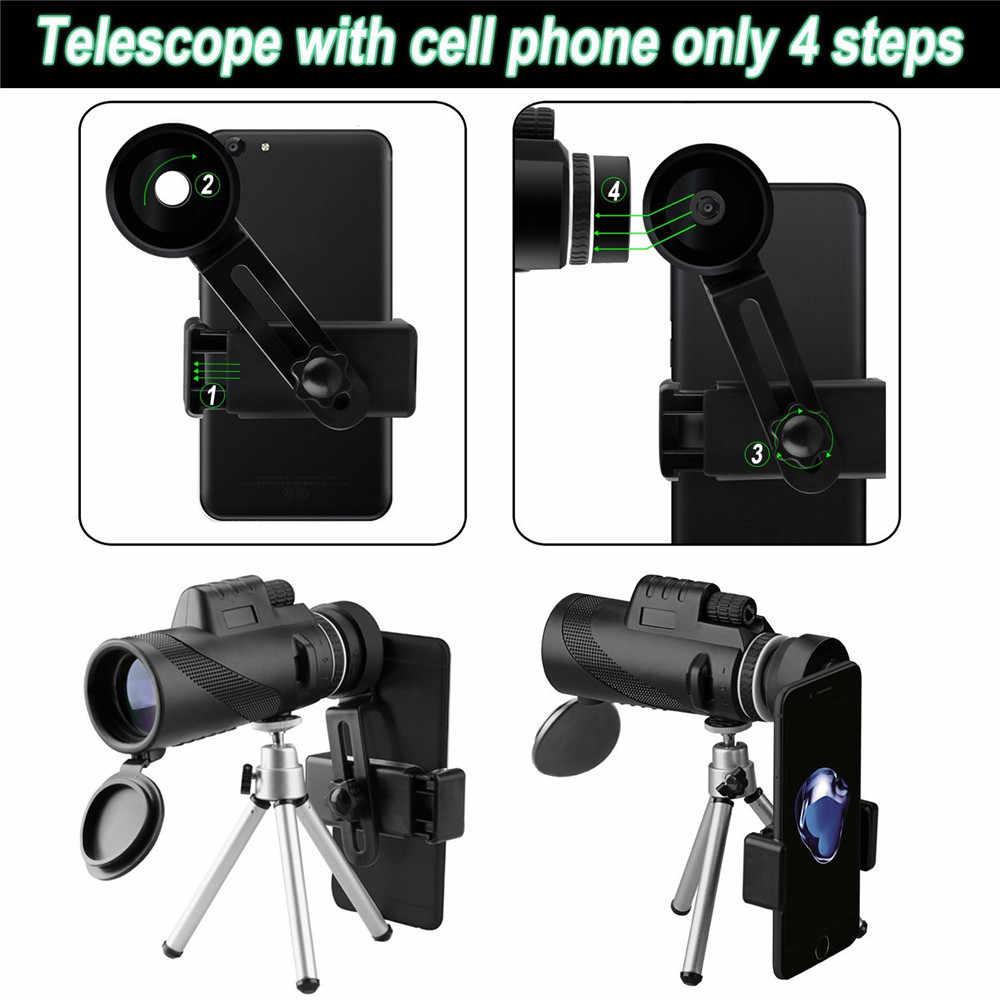 Nowa moda Teleskop Teleskop Teleskop monokularowy Camping piesze wycieczki wysokiej mocy BAK4 Teleskop z szybko stojak na smartphone # e