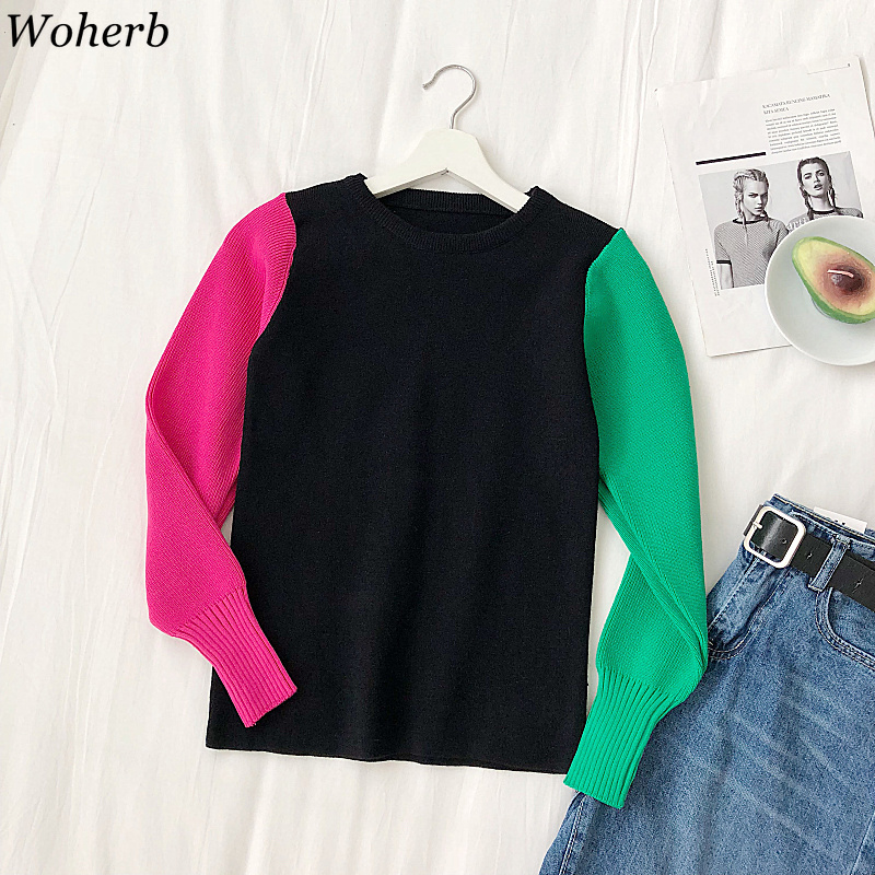 Woherb Women Fashion Korean Knit Sweater Long Puff Sleeve Contrast Color Pullovers Female Casual Jumper Harajuku Patchwork Tops