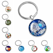 2019 Hot Sale of The Latest Christmas Santa Claus Snow Tree Pattern Series Glass Cabochon Keychain Fashion Jewelry Gift