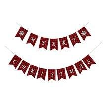 Рождественский баннер с двумя флажками в виде снежинок клетку
