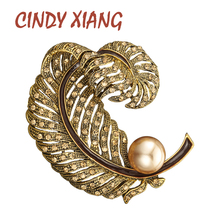 CINDY XIANG 2 Colors Avaible Rhinestone Large Feather Brooch Pin Pearl Vintage Winter Brooch Fashion Jewelry Party Accessories