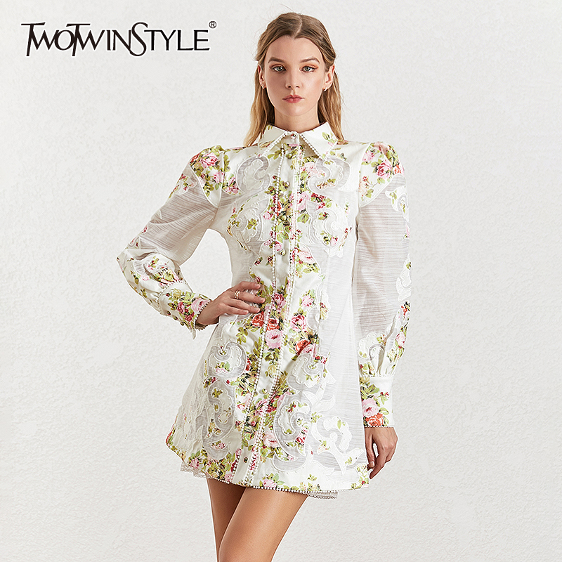 TWOTWINSTYLE Print Patchwork Dress Female Lapel Collar Lantern Long Sleeve High Waist Dresses For Women Summer Fashion 2019 New