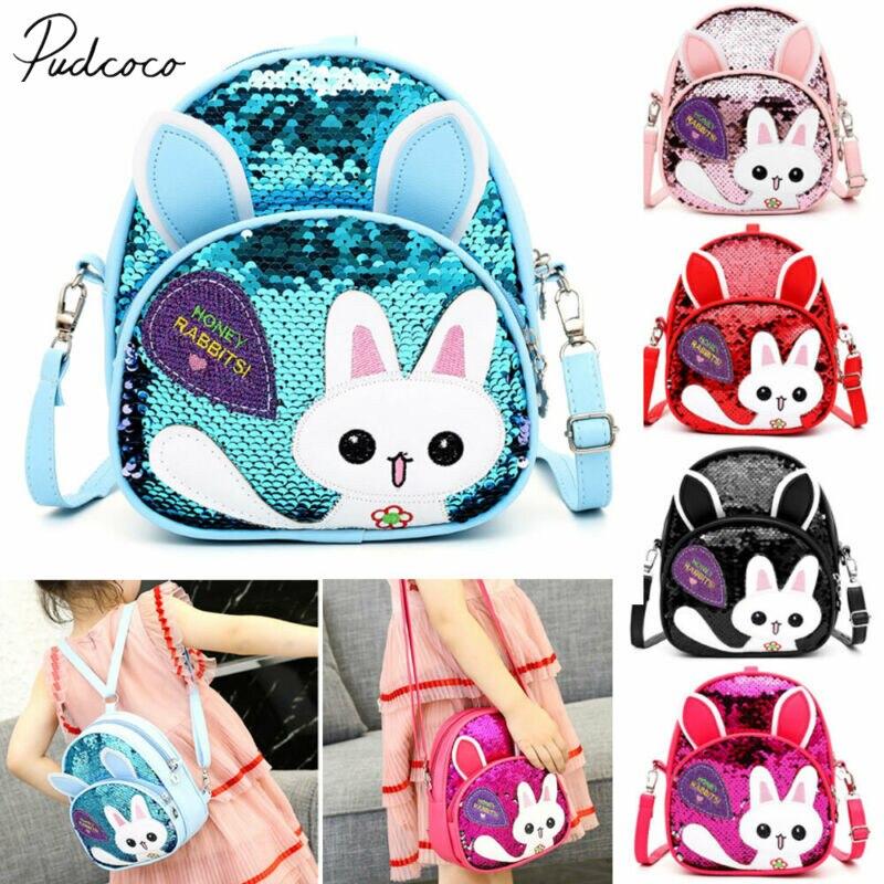2019 Baby Accessories Bling Bling Lovely Kids Baby Backpack 3D Cartoon Bag Children Girls Cat Sequins School Bag