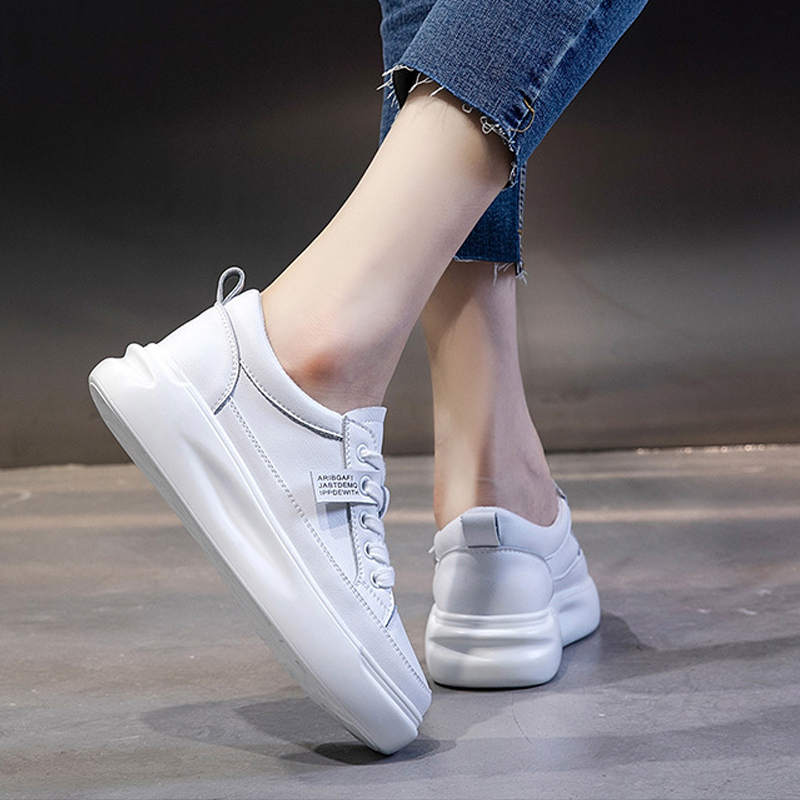 Big Size Women Sneakers Autumn Leather Light White Sneaker Female Platform Vulcanized Shoes Spring Casual Breathable Sports Shoe 2