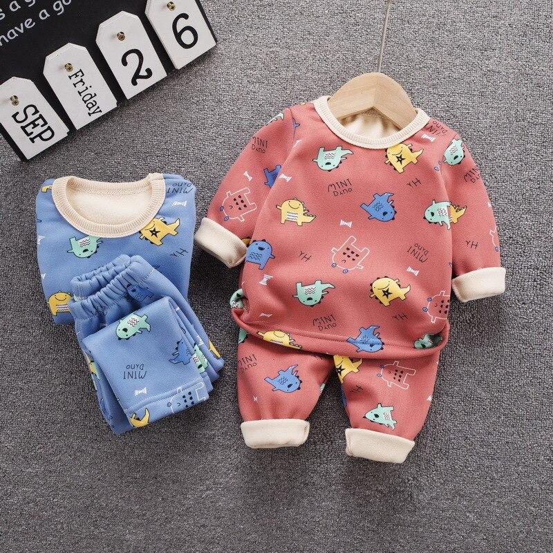 12M-8 Years 2Pcs/Set Pajamas Children's Underwear Suit Cartoon Velvet Warm Girl's Clothes of Winter Baby Boys Babies Clothes 4