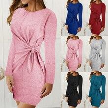 Vertvie женское платье с круглым вырезом и длинным рукавом, Спортивная обтягивающая одежда, осень, сексуальные однотонные платья с высокой талией, теннисные толстовки