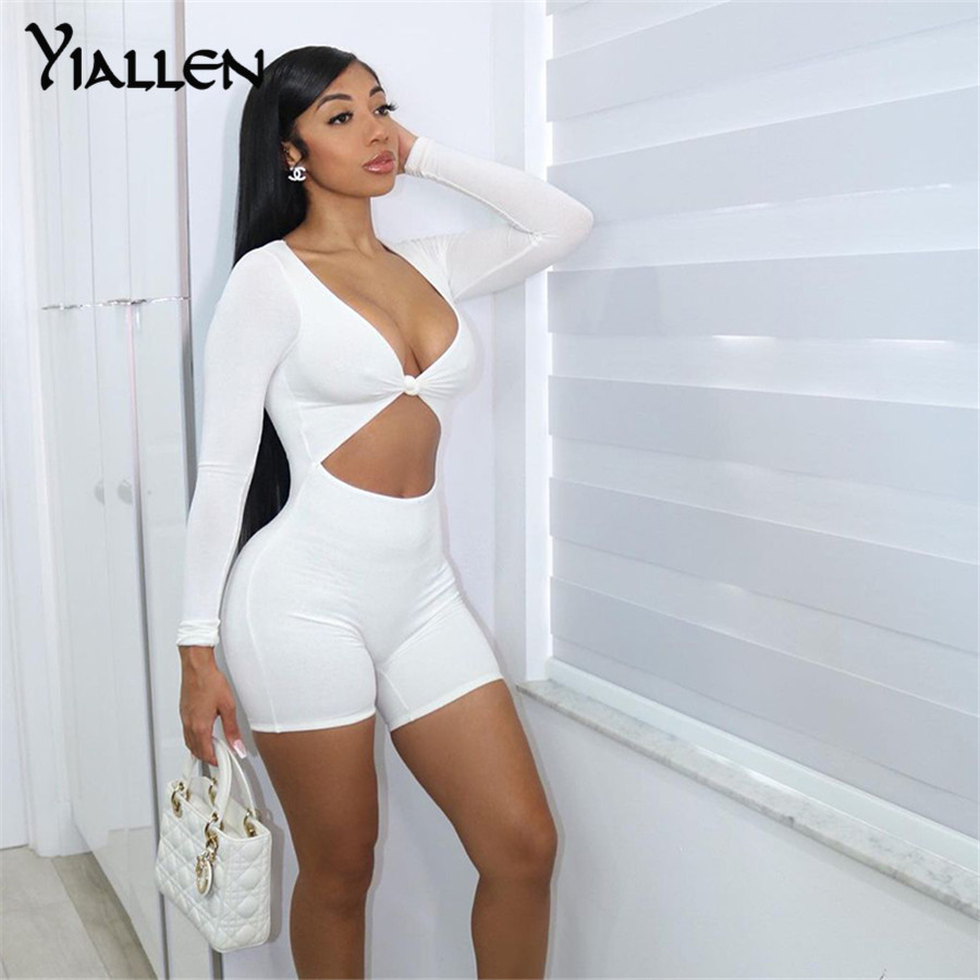 Yiallen Solid Workout Skinny Women Rompers 2021 Long Sleeve Active Wear Shorts Playsuits Fitness One Piece Street Style Outfit