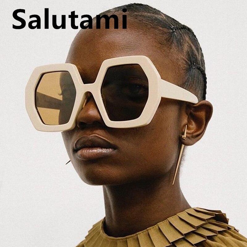 Chic Hexagon Square Sunglasses For Women 2020 New Fashion Luxury Brand Sun Glasses Female Overszied Ferrule Eyewear Black White
