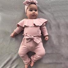 Get more info on the Newborn Infant Cute Cotton Long Sleeve Unisex Baby Girls Boy Frill Solid Romper Bodysuit Bow Pant Outfits 9.24