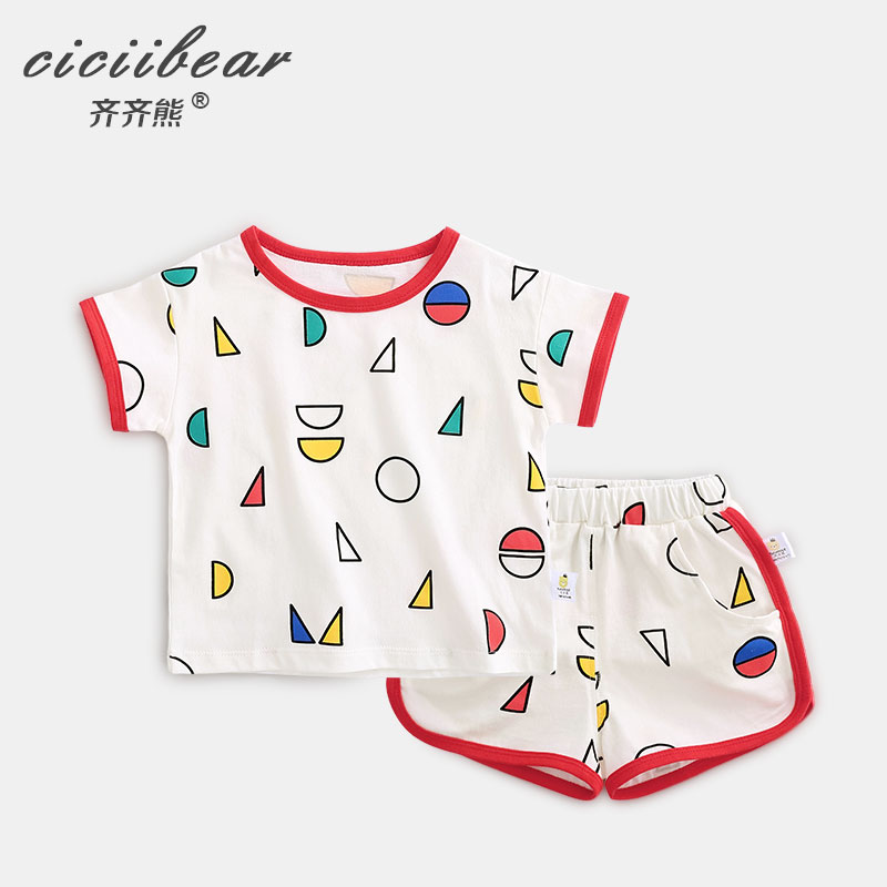 ciciibear 1-5Y Summer children's clothes Baby Boy Tracksuit boys girls Sport short Sleeve T-shirt + shorts Toddler Clothing Sets