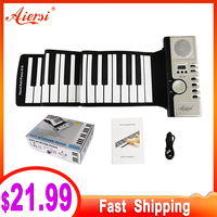 Aiersi Portable Foldable Roll Up MIDI Flexible Piano 49 61 88 Keys Silicone Soft Keyboard Electronic Organ musical gifts for kid