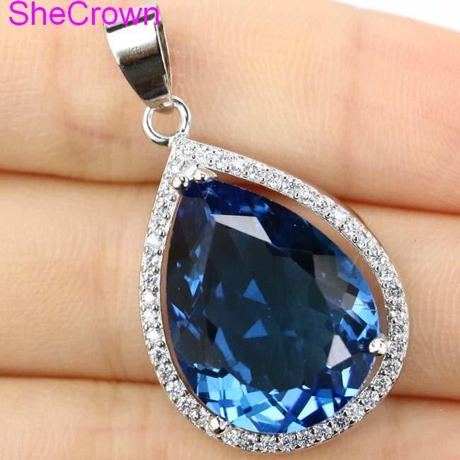 32x19mm Deluxe Big Drop Gemstone 20x15mm London Blue Topaz White CZ Woman's 925 Silver Pendant