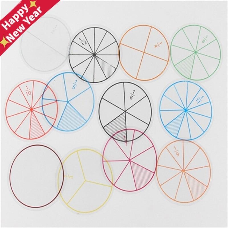 12Pcs/lot Math Fractions Circles Toy Plastic Numbered Fractions Circles Math Chips Mathematics Number Toy Wholesale Dia. 8cm