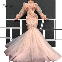 New Arrival Muslim Formal Evening Dresses High Neck Illusion Flowers Prom Party Dress Long Sleeves Robe De Soiree Abendkleider