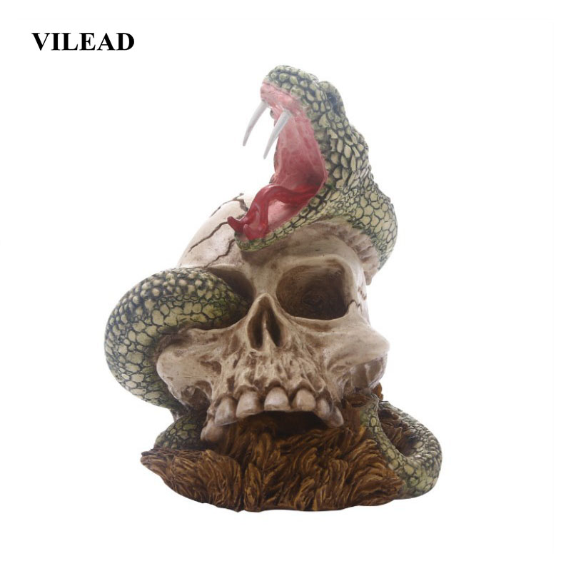 VILEAD 12cm Animal Skull Resin Crafts Horror Party Decoration Home Decor Fish Tank Waterscape Cave Personalized Decoration