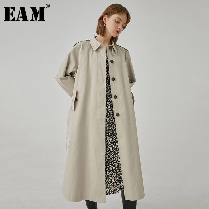 [EAM] Women Single Breasted Long Big Size Trench New Lapel Long Sleeve Loose Fit Windbreaker Fashion Tide Spring 2020 1R764