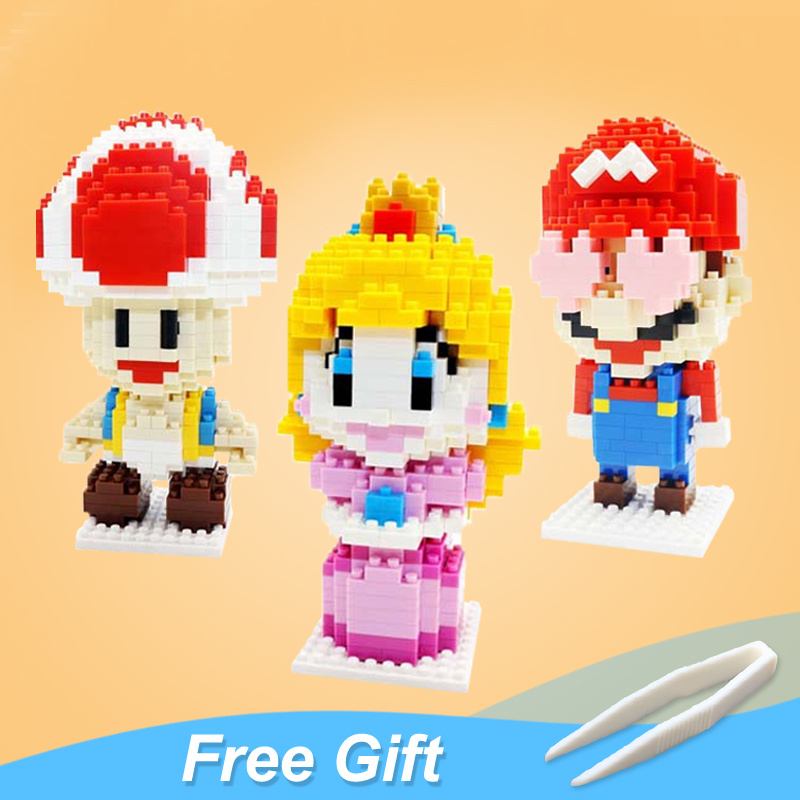 Mario Bros Blocks Toy Figure Model Mario Princess Peach Bowser Building Blocks Japanese Game Toy For Gift Toys Give Baby(China)