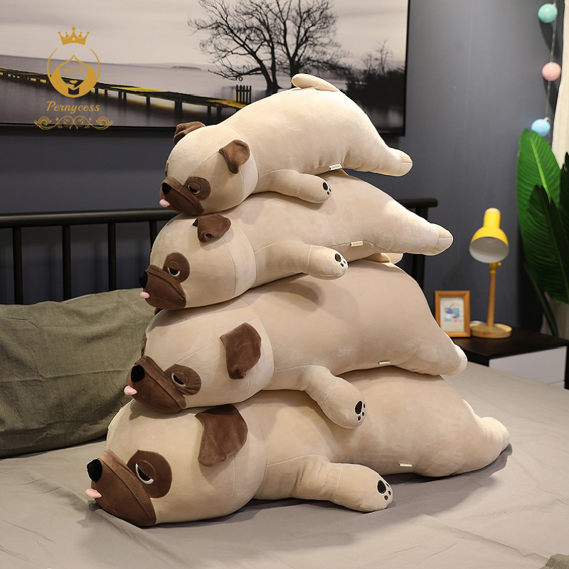 1pcs Large Pug Dog Plush Stuffed Toy Super Soft Elastic Pillow Child Toy Birthday Gift Sofa Bedroom Pillow 50/60/70/90cm