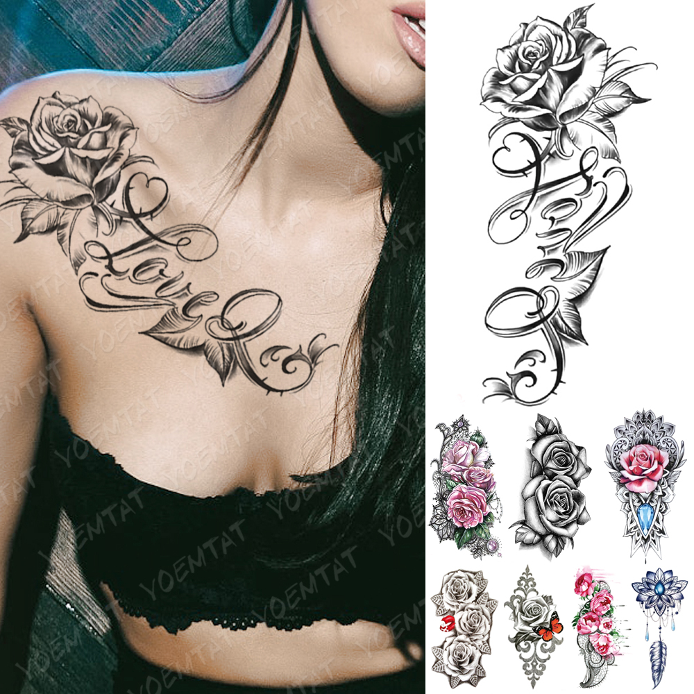 Waterproof Temporary Tattoo Sticker I Love You Flash Tattoos Lip Print Butterfly Flowers Body Art Arm Fake Sleeve Tatoo Women