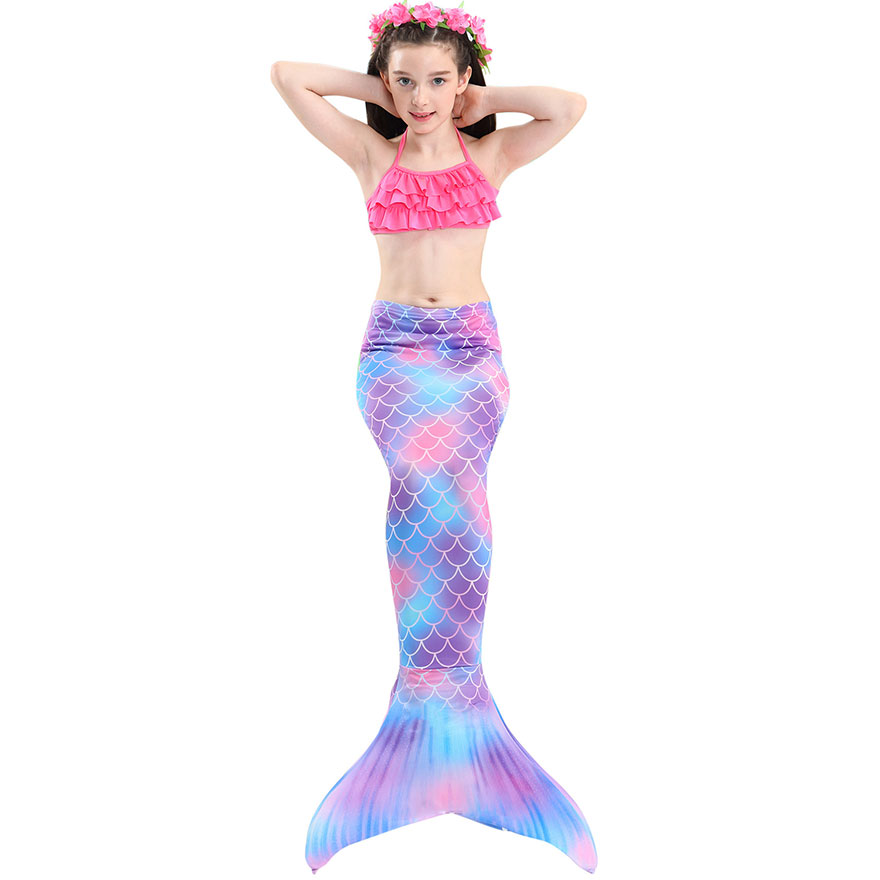 H4f6d91f6fa0b427ead802d57a754038ag - Kids Swimmable Mermaid Tail for Girls Swimming Bating Suit Mermaid Costume Swimsuit can add Monofin Fin Goggle with Garland