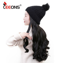 "Leeons Hat Wig Hair 21"" Long Wavy Synthetic Hair Extensions With Navy Cap Wig All-In-One Synthetic Hair Wig With Hat For Girls(China)"