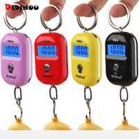 Junejour Mini báscula de equipaje Digital portátil retroiluminación LCD pantalla llavero gancho colgante balanzas peso electrónico 25Kg/55Lb