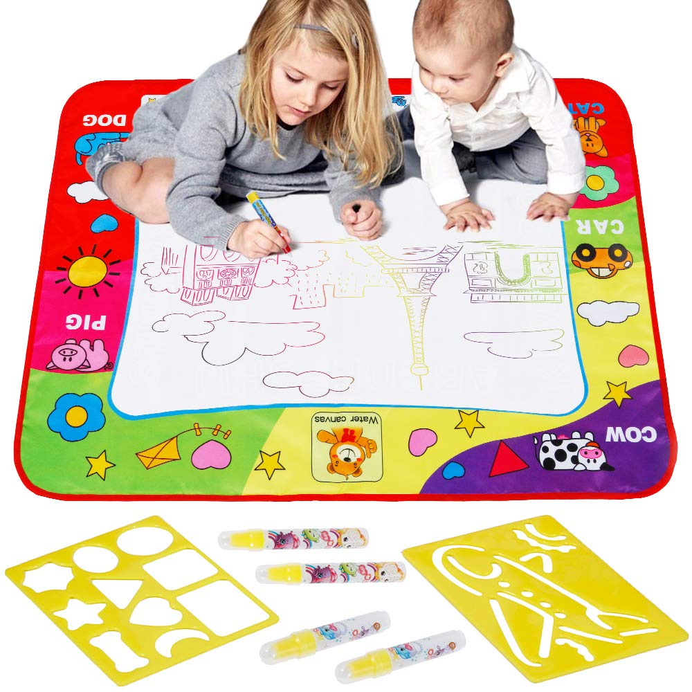Toddlers Doodle Drawing Painting Mat 2 Water Pens Set Baby Kids Learning Toy