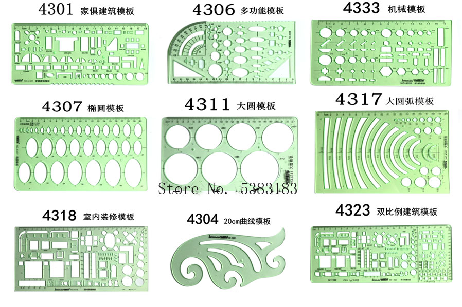 Green Plastic Circles Geometric Template Ruler Stencil Measuring Tool Stationery Students Drawing Curve Ruler Interior Furniture