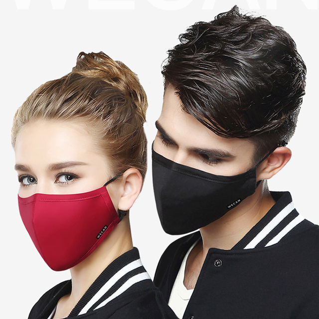 Kpop Cotton Black Mask mouth face Mask Anti PM2.5 dust Mouth Mask with 2pcs Activated Carbon Filter korean Mask Fabric Face Mask 1