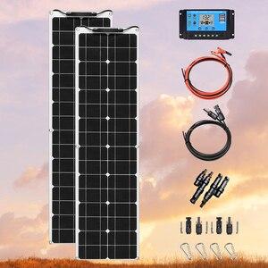 Image 1 - גמיש פנל סולארי 100 W 12V Bendable 100 ואט 12 וולט פנלים סולאריים מטען מחוץ לרשת עבור RV סירת בקתת ואן רכב משטחים לא אחידים