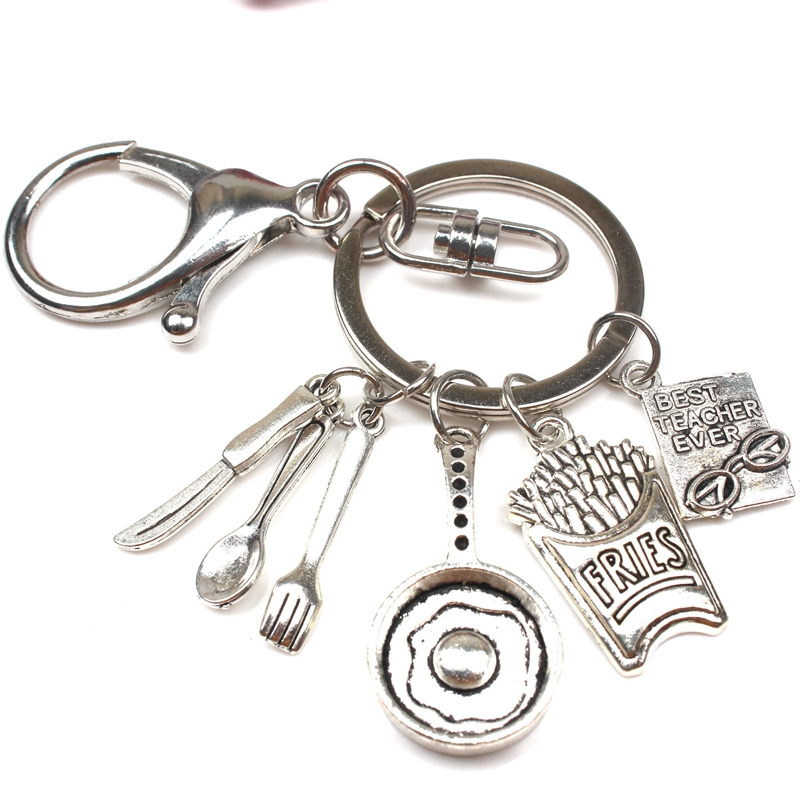 Hot Omelette Chef Keychain Creative Kitchenware Coffee Cup Keychain Man Woman Jewelry Accessorie Gift Souvenir DIY Handmade
