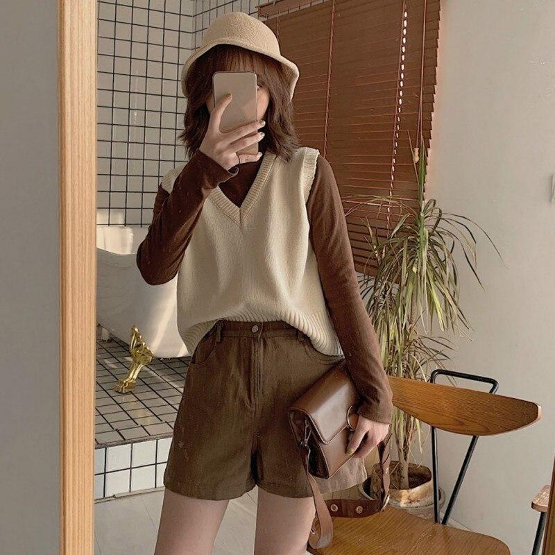 Осенний женский свитер без рукавов, милый однотонный вязаный свободный свитер с v образным вырезом без рукавов, тонкие свитера жилеты, женские свитера|Водолазки|   | АлиЭкспресс