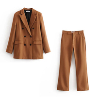 Women's pants suits office lady suits formal female suits two piece set double breasted blazer +pants business casual work suit
