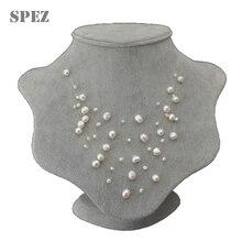 Ожерелье женское многослойное с натуральным пресноводным жемчугом 4 8 мм, 5 рядов