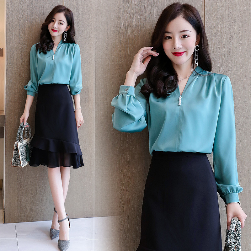 Sexy V-neck Beads Shirt Set 2020 Spring And Autumn Chiffon Flounced Joint Fishtail Skirt Two-Piece Women's