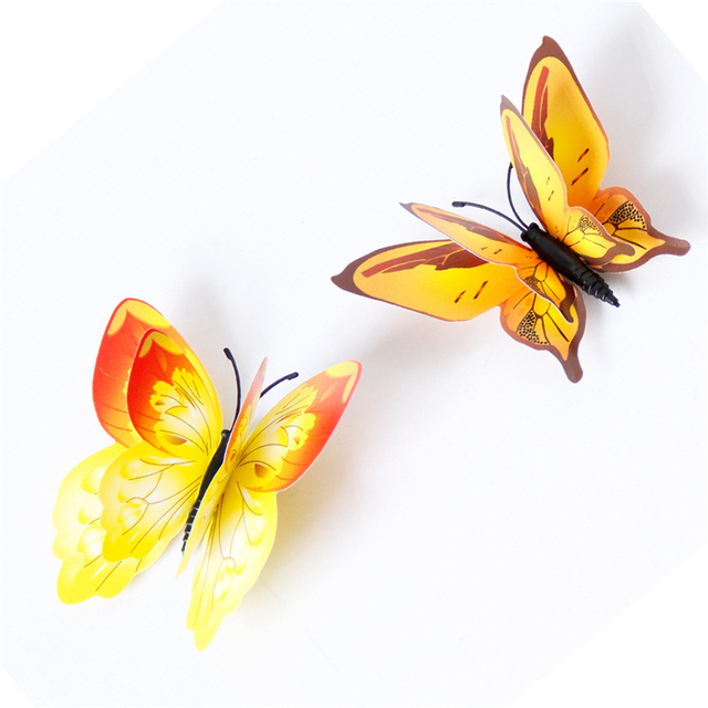 Yellow Orange Pink Butterfly 3D 12Pcs/Set 10