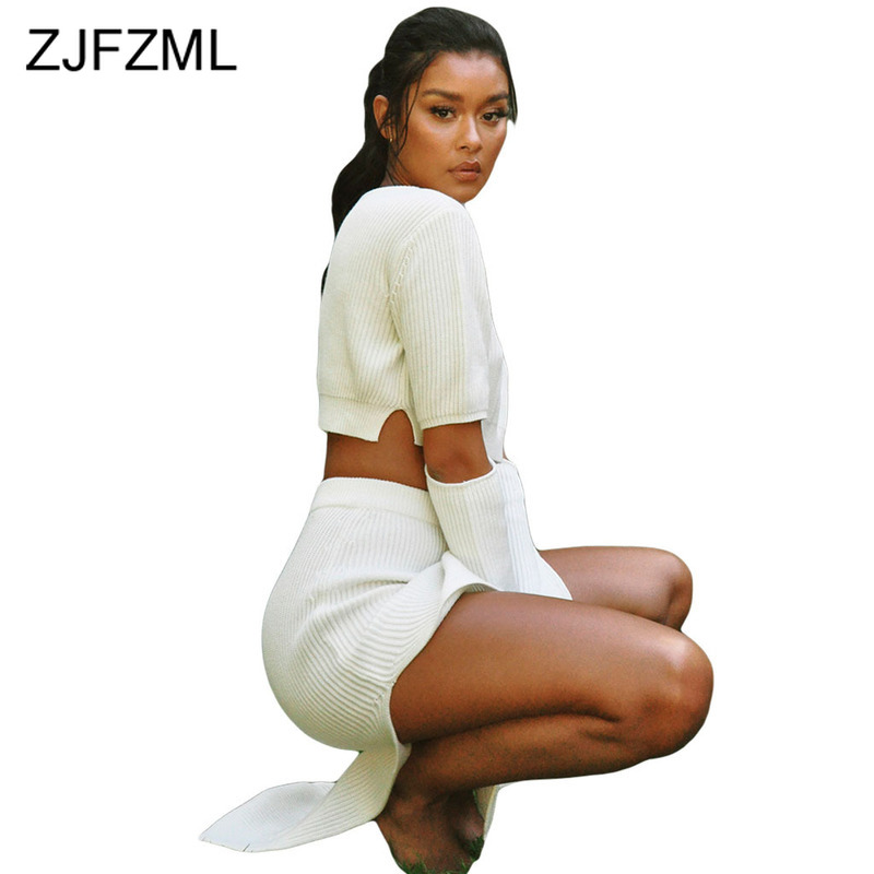 Ribbed Sexy Two Piece Skirt Set Festival Clothing Women O Neck Long Sleeve Crop Tops And Double Split Maxi Skirt Causal Outfits