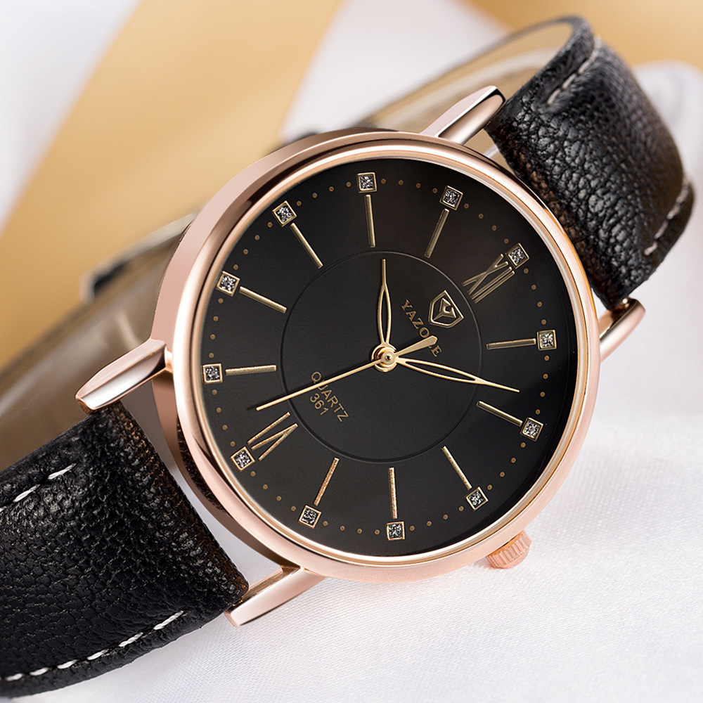 YAZOLE 361 Hot Sale Diamond Women Watches Fashion Simple Designer Crystal Gold Ladies Clock Leather Quartz Wristwatch