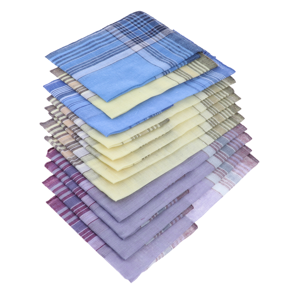 Pack of 12 Plaid Pattern Handkerchiefs Soft Square Pocket Towel for Men
