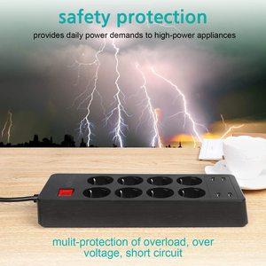 Image 5 - Protector de sobretensión de tira de energía múltiple toma de corriente de CA de 4/6/8 vías enchufe eléctrico de la UE con adaptador de cargador USB cable de extensión de 1,5 m
