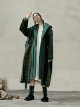IRINACH63 2020 yeni koleksiyon kapşonlu uzun büyük boy beyaz ördek aşağı patchwork kadınlar yün ceket kış