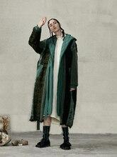 IRINACH63 abrigo de lana con capucha para mujer, chaqueta larga de talla grande con plumón de pato blanco, nueva colección de invierno 2020