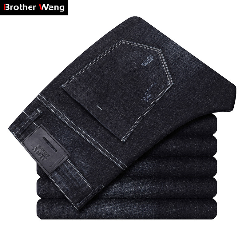 Classic Style Men's Black Stretch Jeans 2019 Autumn New Fashion Slim Fit Business Trousers Brand Male Pants