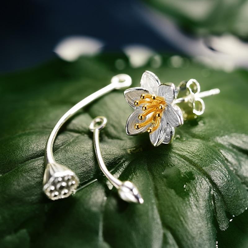 Lotus Fun Real 925 Sterling Silver Lotus Whispers Long Drop Earrings Dual Use Elegant Flower Earrings for Women Fine Jewelry