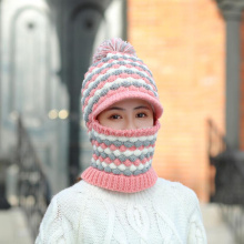 2019 Winter Womens Knit Hat Scarf Cap Fashion Balaclava Wholesale